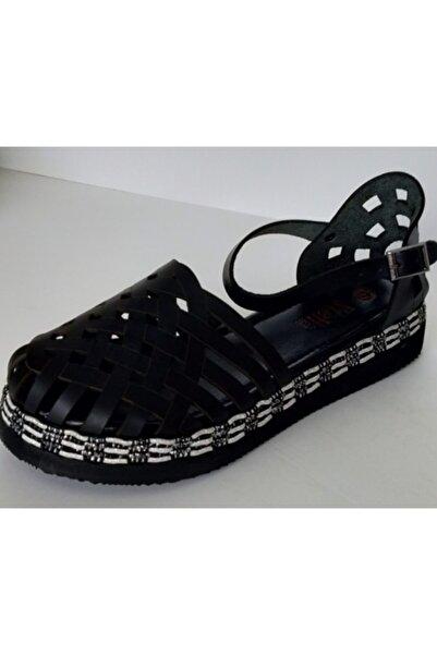 Stella Kadın Siyah Deri Sandalet