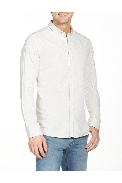 Bisse Erkek Bej Uzun Kollu Yaka Düğmeli Slim Fit Spor Gömlek