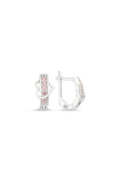 jelux silver Kalpli Düz Model Pembe Zirkon Taşlı Çocuk Küpe