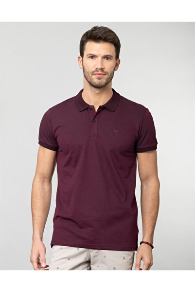 Tudors Erkek Bordo Polo Yaka Spor Düz T-Shirt