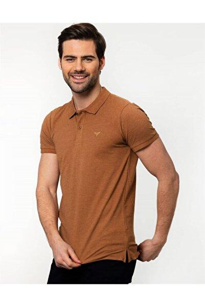 Tudors Erkek Kahverengi Slim Fit Polo Yaka Spor T-Shirt