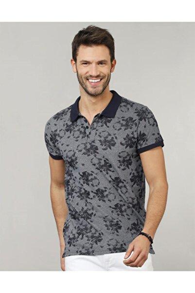 Tudors Erkek Gri Polo Yaka Slim Fit Desenli T-shirt