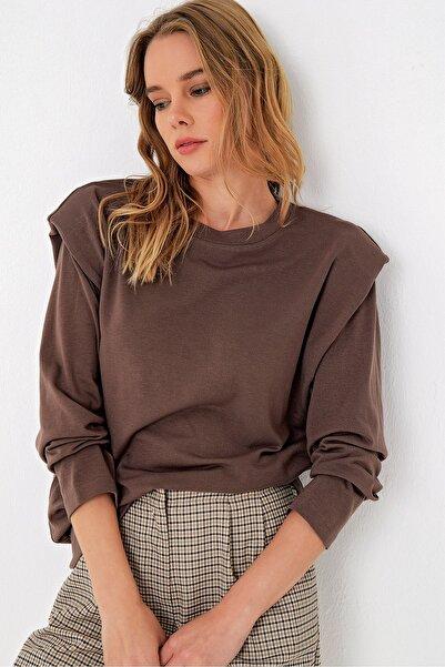 Trend Alaçatı Stili Kadın Çikolata Uzun Kol Vatkalı Bluz ALC-020-032-MDS