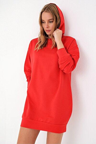 Trend Alaçatı Stili Kadın Kırmızı Kapşonlu Sweatshırt Elbise ALC-018-109-TE