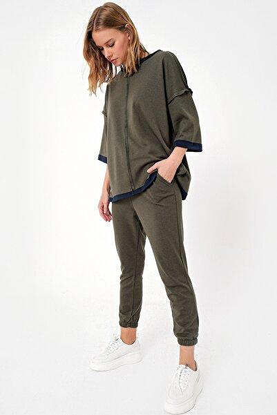 Trend Alaçatı Stili Kadın Haki Önü Dikişli Eşofman Takımı ALC-X5081