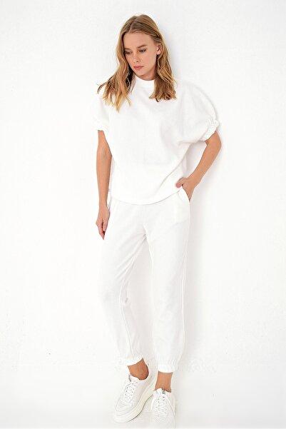 Trend Alaçatı Stili Kadın Ekru Selanik Örme Eşofman Takım ALC-X4874-RV-1