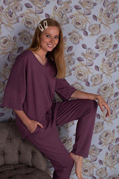 Hays Kadın Mor Büyük Beden Saten Detaylı Uzun Kollu Pijama Takımı