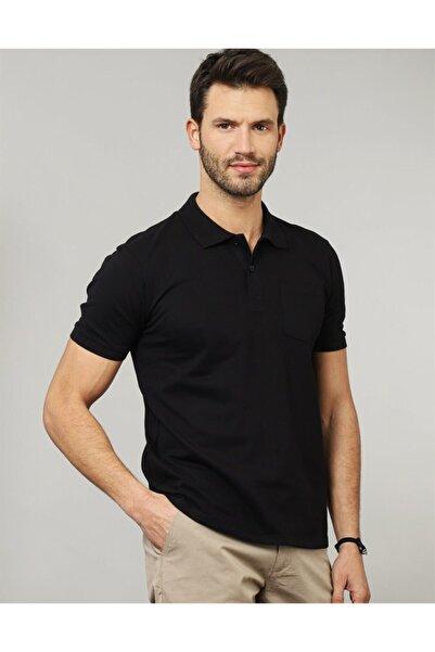 Tudors Erkek Siyah Klasik Fit Polo Yaka T-shirt