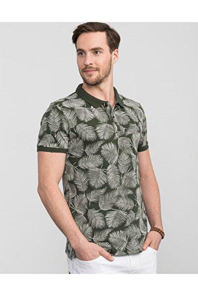 Tudors Erkek Haki Slim Fit Polo Yaka Desenli T-shirt