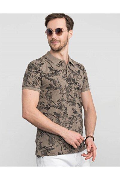 Tudors Erkek Kahverengi Slim Fit Polo Yaka Çiçek Desenli T-shirt