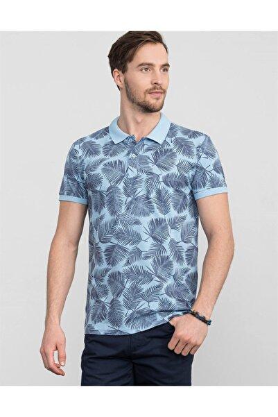 Tudors Erkek Turkuaz Slim Fit Çiçek Desenli T-shirt