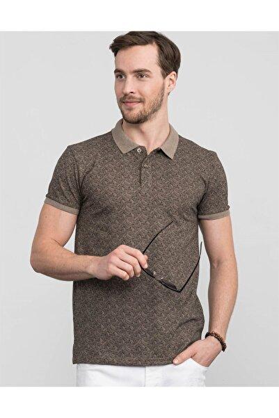 Tudors Erkek Kahverengi Polo Yaka Desenli Spor T-shirt