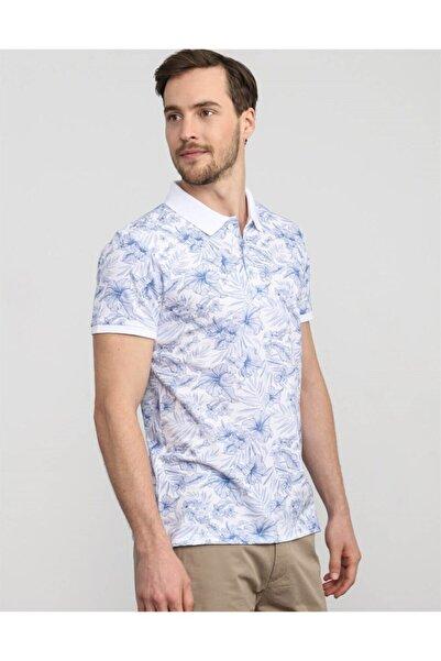 Tudors Erkek Beyaz Slim Fit Çiçek Desenli Polo Yaka T-shirt