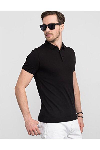 Tudors Erkek Siyah Slim Fit Polo Yaka Triko T-shirt