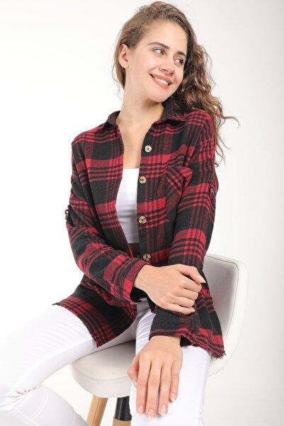 MD trend Kadın Bordo Oduncu Desen Oversize Yünlü Kaşe Gömlek
