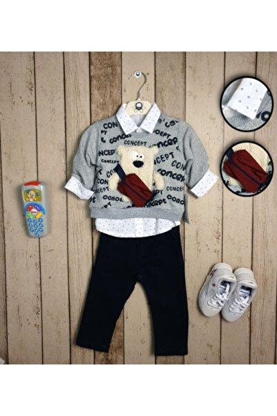 Concept. Erkek Bebek Gri Gömlekli Çanta Detaylı Kot Takım