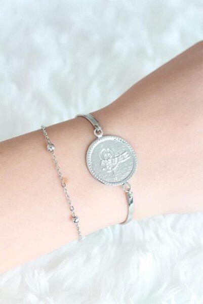 NEWOTO Silver Renk Tuğra Tasarım Kadın Bileklik