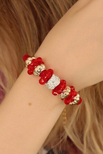 NEWOTO Kırmızı Renk Ve Kristal Taşlı Bileklik