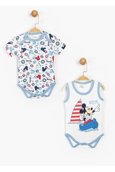 Mickey Mouse Disney Mickey Mouse Erkek Bebek Beyaz Mavi Pamuklu Kısa Kollu ve Askılı İkili Body SUM-15469