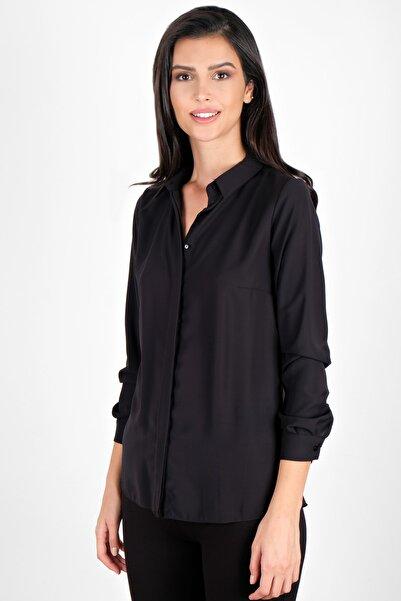Spazio Kadın Siyah Lluvy Uzun Kollu Düğmeli Bluz 30093586