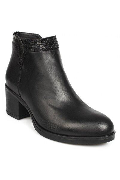 Stella Kadın Siyah Deri Topuklu Bot 21144 Z