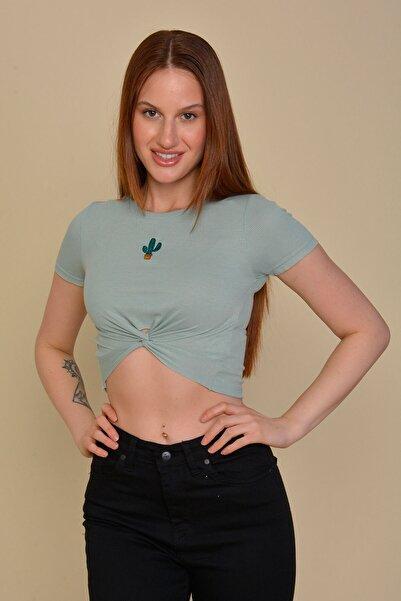Mossta Kadın Mint Kaktüs Nakışlı Crop T-shirt