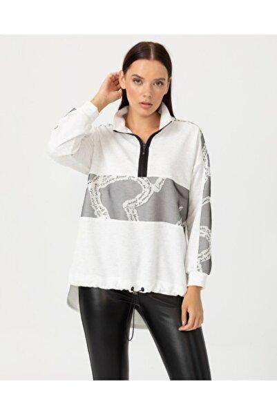 SEÇİL Kadın Ekru Yazı Detaylı Yarım Fermuarlı Bluz