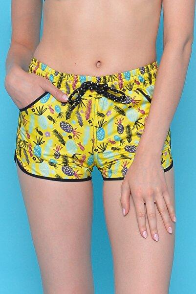Mossta Kadın Sarı Ananas Desen Deniz Şortu