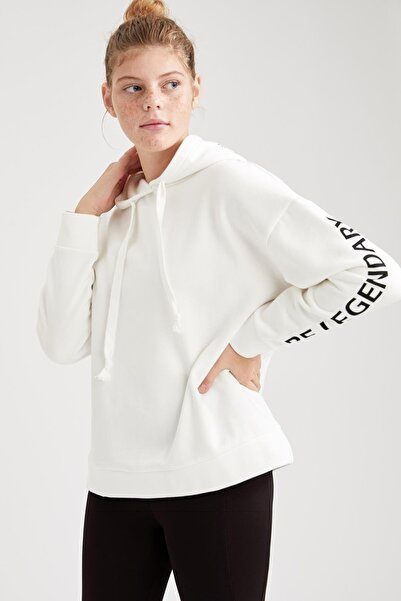 DeFacto Fit Kadın Ekru Relax Fit Kapüşonlu Sweatshirt
