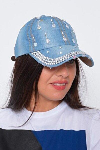 Kadın Mavi Damla Taşlı Kot Şapka