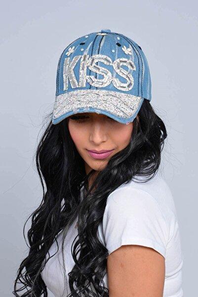 Mossta Kadın Mavi Kiss Taşlı Kot Şapka