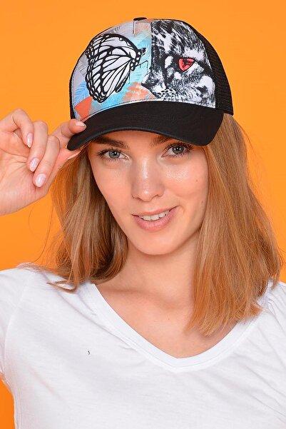 Mossta Kadın Siyah Butterfly Figürlü Şapka