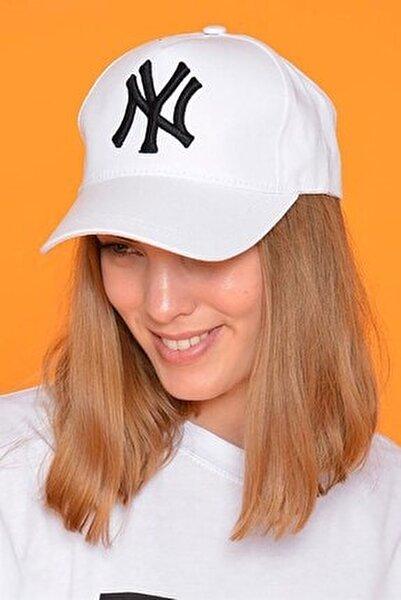 Unisex Beyaz New York Şapka