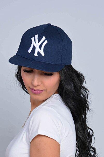 Mossta Unisex Lacivert New York NY Baskılı Snapback Kep Şapka