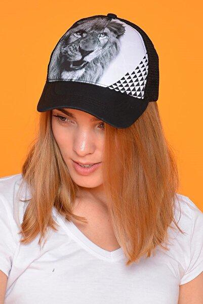Mossta Unisex Siyah Aslan Figürlü Şapka