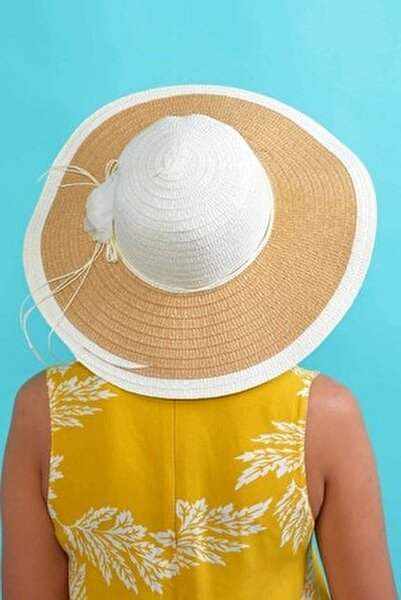 Kadın Ekru Çiçekli Hasır Şapka