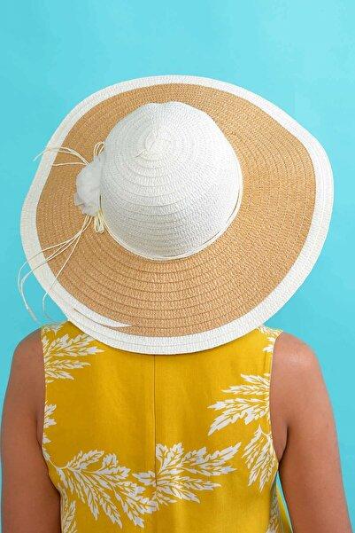 Mossta Kadın Ekru Çiçekli Hasır Şapka