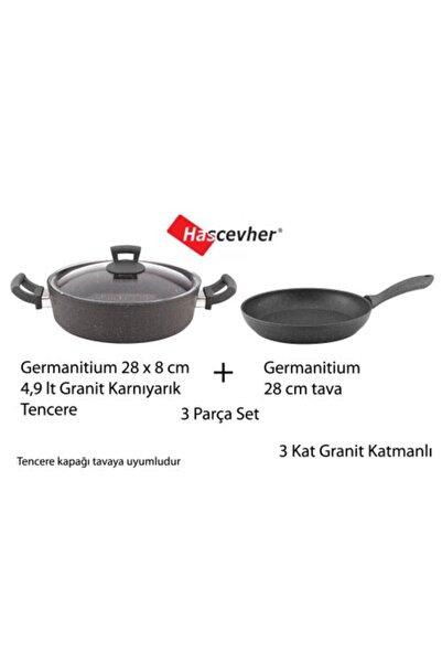 Hascevher Germanitium 4.9 Lt 28 Cm Granit Karnıyarık Tencere + Granit Tava 3 Granit Katmanlı