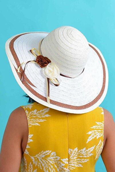 Mossta Kadın Beyaz Çiçek Detaylı Hasır Şapka