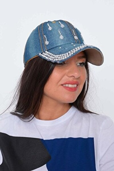 Kadın Koyu Mavi Damla Taşlı Kot Şapka
