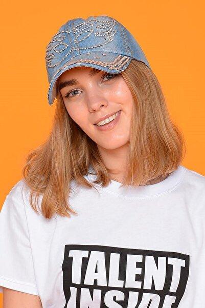 Mossta Kadın Mavi Maske Taşlı Kot Şapka