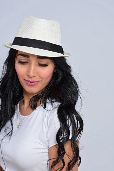 Mossta Unisex Ekru Şeritli Hasır Şapka