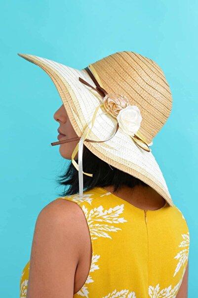 Mossta Kadın Vizon Çiçek Detaylı Hasır Şapka