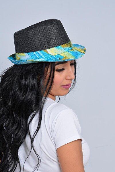 Mossta Unisex Siyah Palmiye Şeritli Hasır Şapka