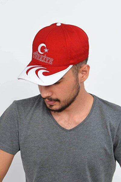 Mossta Erkek Kırmızı Ay Yıldız Nakışlı Türkiye Şapka