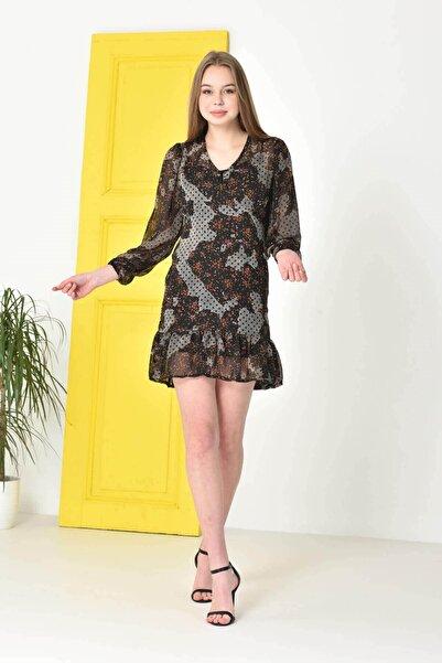Mossta Kadın Siyah Astarlı Şifon Elbise