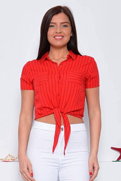 Mossta Kadın Kırmızı Kısa Kol Bağlamalı Viskon Gömlek