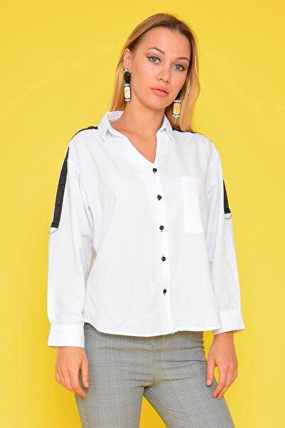 Mossta Kadın Beyaz Omuz Şeritli Gömlek