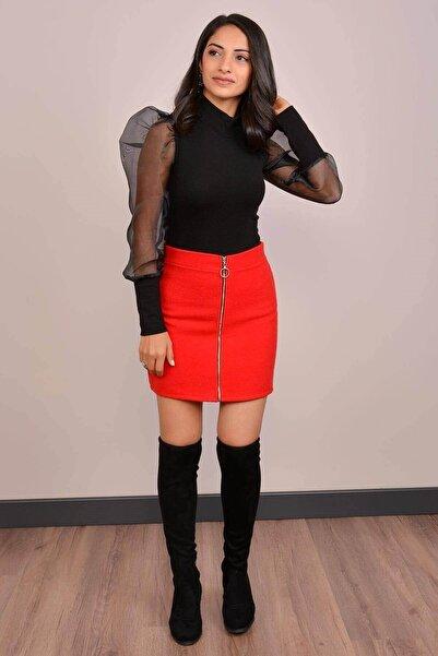 Mossta Kadın Kırmızı Fermuarlı Kaşe Mini Etek