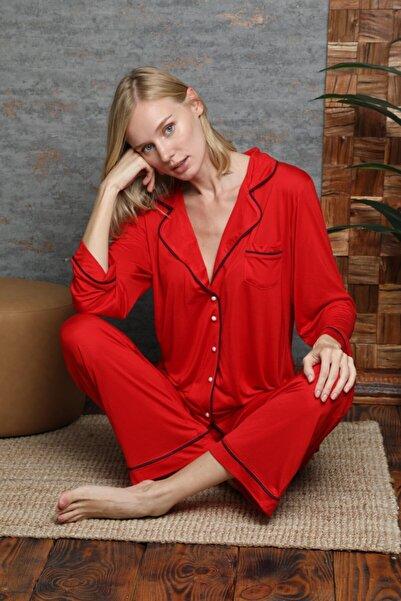 DOREA Kadın Kırmızı Düğmeli Uzun Kol Pijama Takım